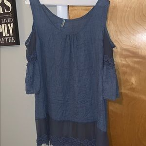 Blue plus size top from local Boutique